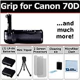 Professional EOS 70D Multi Purpose Battery Grip for Canon EOS 70D DSLR Camera + 2 LP-E6 Long Life Batteries + Complete Deluxe Starter Kit by eCost (BG-14 BG14)