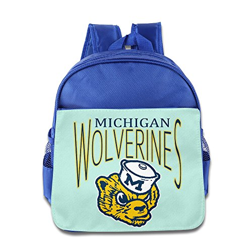 University Of Michigan UMich Wolverines Logo Kids School RoyalBlue Backpack (Michigan Wolverines Mike)