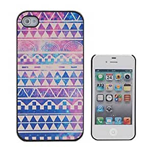 YXF Retro Geometric Figure Coloured Drawing Pattern Black Frame PC Hard Case for iPhone 4/4S