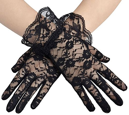 (Wrist Length Floral Lace Edge Cocktail Evening Party Gloves Short Black 2)