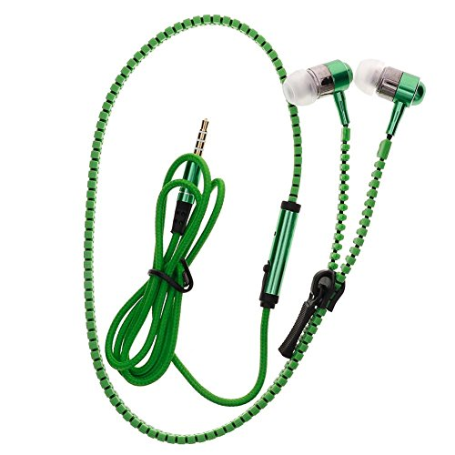 (YOUNGFLY 3.5mm In-ear Zipper Earphone Stereo Headset Earbuds Headphone with Mic Phone Green)