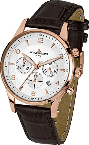 Men Lemans Watches Jacques - Jacques Lemans London 1-1654H 40mm Rose Gold Tone Case Leather Mineral Men's Watch