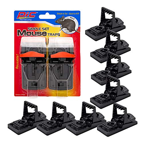 PIC Simple Set Mouse Trap (8-Pack), Reusable Plastic Mouse Traps, Effective Small Mouse Traps, Pesticide-free Mouse Snap Trap, Easy-to-Use Small Mice Traps, Effective House Mice Traps Indoor & Outdoor