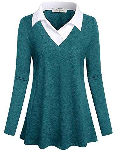 SeSe Code Work Shirts for Women Ladies Tunic Tops Subtle Pleat Layered Collar Springy Clothing Baggy Comfort Versatile Meeting Stylish Blouse Dark Cyan XL by SeSe Code