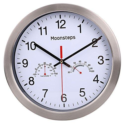 Moonsteps 12 Quartz Silent Metal Frame Digital Wall Clock No Ticking w/Temperature & Humidity Stats, White