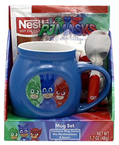 (PJ Masks Holiday Mug Set with Hot Cocoa, Marshmallows and Spoon)