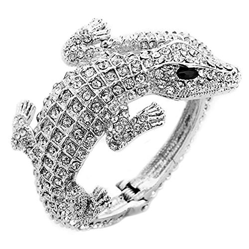 Rosemarie Collections Women's Hinged Pave Alligator Wrap Bracelet (Silver/Clear)