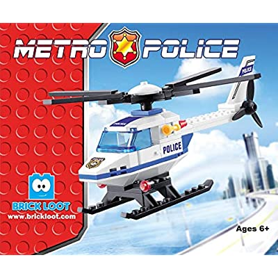 Exclusive Set - Police Helicopter - Brick Building - Custom Design Bricks - Compatible with All Major Brands: Toys & Games