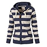 ASCHOEN Womens Long Sleeve Pocket Striped Zipper Hooded Sweatshirt Blue S