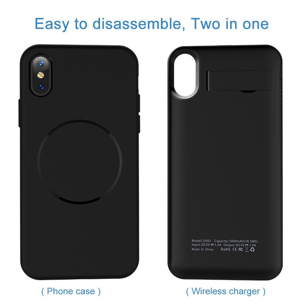 Battery Case for iPhone X, Mbuynow 3700mAh Iphone Wireless Charger Case for Iphone X External Rechargeable Charger Case Protective Power Charger