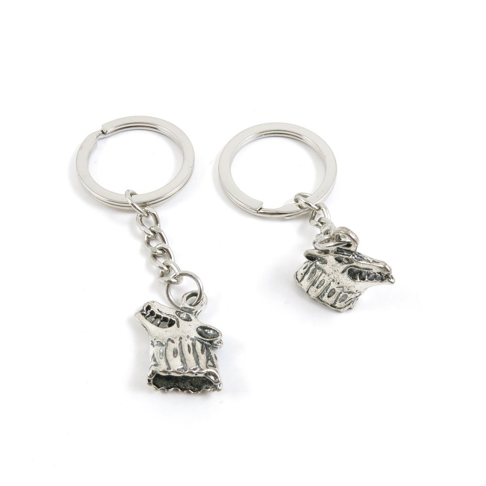 100 Pieces Keychain Door Car Key Chain Tags Keyring Ring Chain Keychain Supplies Antique Silver Tone Wholesale Bulk Lots Y6YJ9 Wolf Head