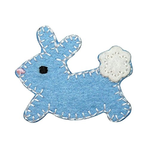 (ID 3347B Furry Cottontail Bunny Patch Easter Baby Rabbit Felt Iron On Applique)