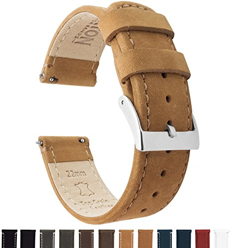 Fossil Leather Strap - Barton Quick Release Top Grain Leather Watch Band Strap - Choose Color - 16mm, 18mm, 20mm, 22mm or 24mm - Gingerbread(Light Brown) 22mm