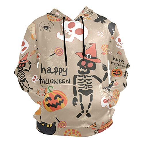 Charlley Lee Men's Hooded Sweatshirt Happy Halloween Clip Art Cartoon Set Vector Image Fashion -