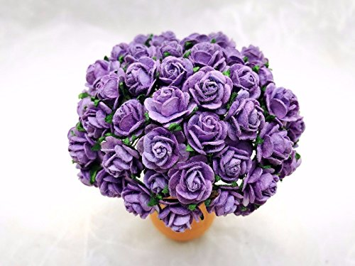 Lavender Mulberry - JN Siam789 lavender purple 50 pcs. Rose Mulberry Paper Flower Craft Handmade Wedding 15 mm Scrapbook #184