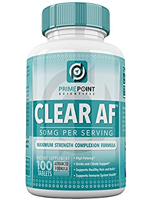 Prime Point Scientific CLEAR AF: Best Acne Fighter Advanced Complexion Formula for Clear Skin for Teens and Adults With Mild to Moderate Acne, Cystic Acne and Hormonal Acne on Face and Back, 100 Tabs