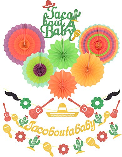 Taco Bout a Baby Decorations | Gold Glitter Taco Bout a Baby Banner Sign | Beautiful colors paper tissue fans | for Mexican Fiesta Themed Birthday Bachelorette Wedding Party Decor -