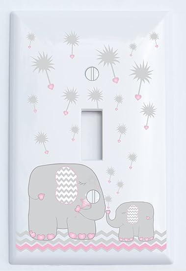single toggle pink and grey dandelion elephant light switch plates covers elephant nursery decor