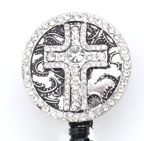Cross Shield Rhinestone Retractable Badge Reel/ ID Badge Holder