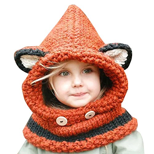 amazingdeal Baby Hats and Scarf, Kids Cat Fox Ear Winter Windproof Hat Set(Orange)
