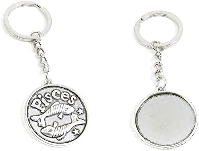 50 PCS Antique Silver Keyrings Keychains Key Ring Chains Tags Clasps Y4DD8 Pisces Round Cabochon Base