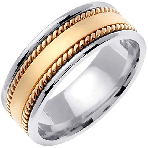 14K Two Tone (White and Yellow) Gold Braided Rope Edge Men