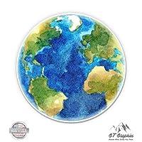 "GT Graphics Planet Earth Beautiful Watercolor - 3"" Vinyl Sticker - For Car Laptop I-Pad Phone Helmet Hard Hat - Waterproof Decal"