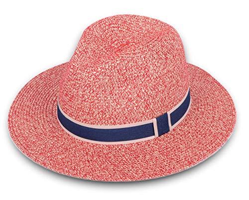 Pink Fedora Hat (Lanzom Women Wide Brim Straw Panama Roll up Hat Fedora Beach Sun Hat UPF50+ (Y-Pink))