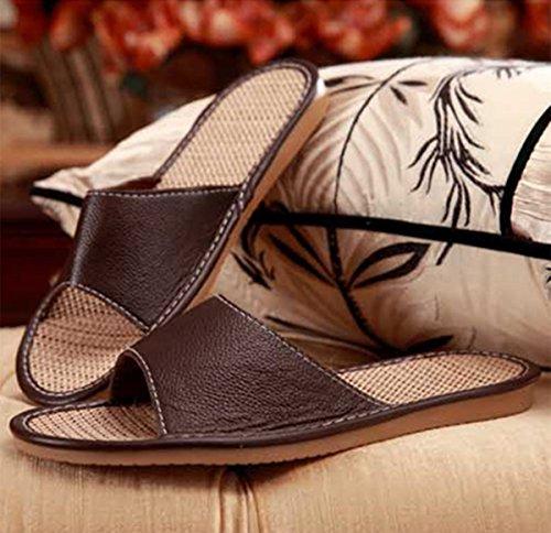 Pocartz Womens & Mens Leather Vlas Home Slipper Open Teen Anti-slip Zool Indoor Huis Platte Sandalen Koffie