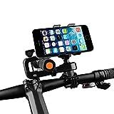 Bike Phone Mount, Airsspu Universal Cell Phone Bicycle Rack Handlebar Flashlight Holder for iPhone 6 6 Plus 6S 6S plus 5S 5C, Samsung Galaxy S3 S4 S5 S6 S7 Note 3/4/5,Nexus,HTC,LG,BlackBerry (Black)