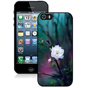 Beautiful Unique Designed Cover Case For iPhone 5S With Flowers Pattern Black Phone Case
