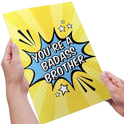 Badass Brother - Funny Awesome Cool Birthday Card for Brother, Fraternity Brother, Bro, Hermano, Broski - Bright, Vibrant, Unique, Colorful, Brothers, Bros ()