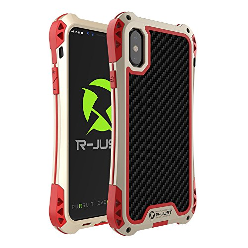 iphone X case,Feitenn Armor Aluminum Metal case Extreme Alloy Metal Bumper Hybrid Soft Rubber Gorilla Glass Military Heavy Duty Shockproof Hard Case For iphone X iPhone 10 ten (Gold/Red)
