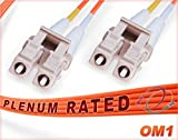 80M OM1 LC LC Plenum Fiber Patch Cable | Duplex 62.5/125 LC to LC Multimode Jumper 80 Meter (262.46ft) | Length Options: 0.5M-300M | FiberCablesDirect - Made In USA | Alt: ofnp lc-lc mm dx lc/lc mmf