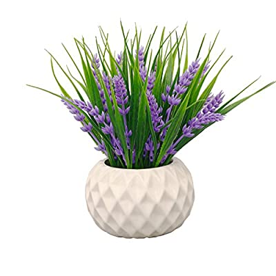 Modern Artificial Potted Plant for Home Decor Lavender Flowers and Grass Arrangements Tabletop Decoration