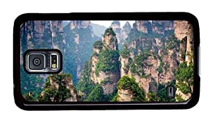 Sale rubber Samsung S5 cases Chinese mountain cliff top forest trees PC Black for Samsung S5,Samsung Galaxy S5,Samsung i9600