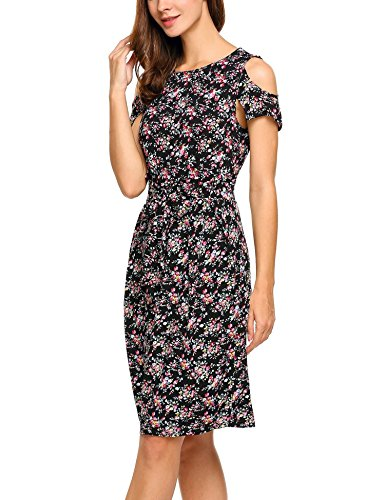 ANGVNS Neck Women's O Print Shoulder Casual Belt with Dresses Cold Red Slim Floral YYdfxrq