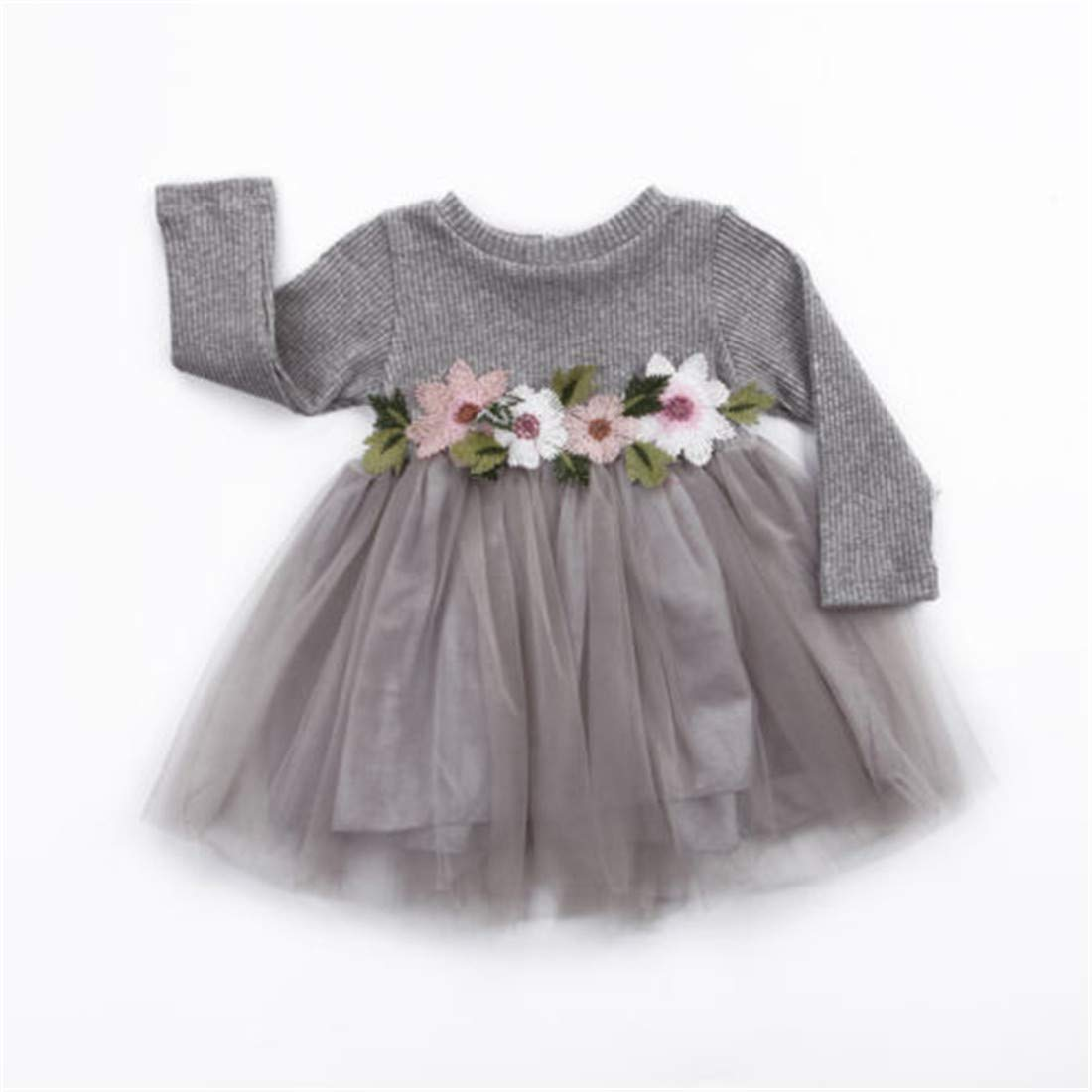 Charmemory Infant Girl Lace Floral Knitted Tutu Party Dresses Outfits