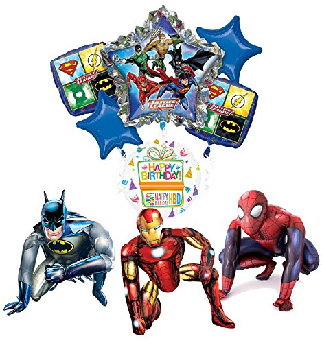 Justice League Party Supplies Batman, Spider-Man and Iron Man Airwalker Balloon Bouquet Decorations