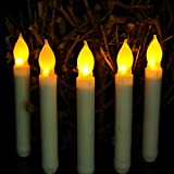 electric candle fireplace insert - Frestree 6pcs Yellow Flameless Taper Candles with Remote, Battery Operated Romatic Fake Electric Candle for Halloween Christmas Party Decorations(Batteries Not Include) (12 pcs Taper candleYellow)