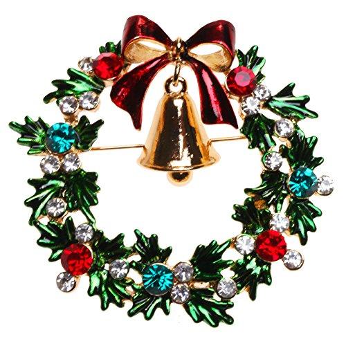 Enameled Holiday Bells - KIRKS FOLLY CHRISTMAS WREATH PIN goldtone