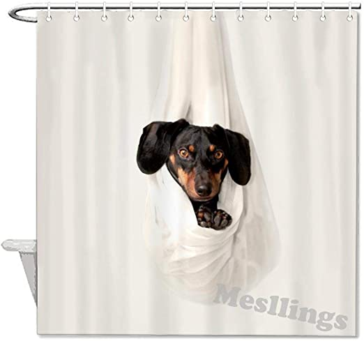 Classic Funny Shower Curtains Dachshund Resting On White Hanged Fabric Polyester Fabric Bathroom Decor Set With Hooks 72x72 Inch Home Kitchen