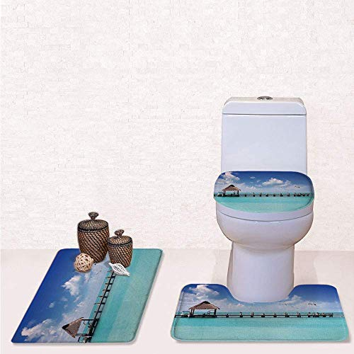 Umber Entrance - Print 3 Pcss Bathroom Rug Set Contour Mat Toilet Seat Cover,Seascape Clouds Sky with Birds Wooden Dock Lonely Bungalow Tropical Picture with Aqua Blue Umber,Decorate Bathroom,Entrance Door,Kitchen,