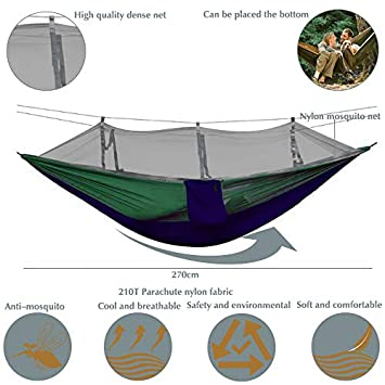 BOBOLINE Hammock Camping Single Double with Mosquito Bug Net and Tree Straps Carabiners Easy Assembly Lightweight Portable Parachute Nylon Hammock for Camping, Backpacking,Travel