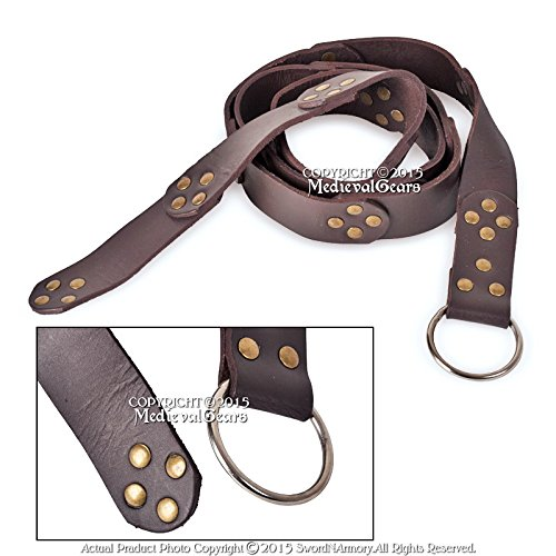 Medieval Gears Brand Brown Medieval Leather Ring Belt Renaissance Dressing SCA LARP Costume Cloth
