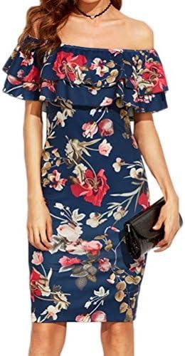 خانم های Misaky Off Shot Dress ، چاپ لباس کوتاه V- یقه بدون آستین کوتاه