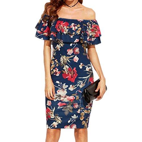 خانم های Misaky لباس شانه ، چاپ کوتاه V- یقه بدون آستین کوتاه (XL ، آبی 1)