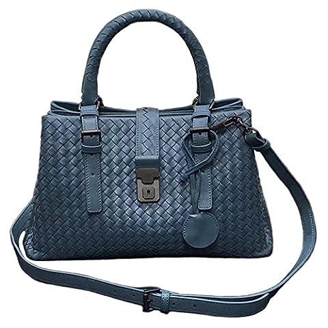 Evalulu Woven Italian Sheepskin Leather Satchel Tote Handbag Purse - Lambskin Leather Tote Bag