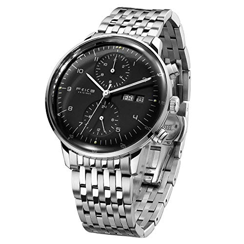 FEICE Men's Mechanical Watch Bauhaus Automatic Watch Stainless Steel Self-Winding Wrist Watches Casual Dress Watches for Men with Leather Bands Date Calendar -FM121 (Black-2)