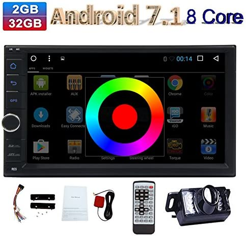 EinCar Android Car Stereo 7.1 Octa Core 2G 32G 7 In Dash 2 Din GPS Navigation 1024600 Touch Screen Radio Receiver Head Unit support Subwoofer Dual Cam-IN Remote Control Backup Camera Included